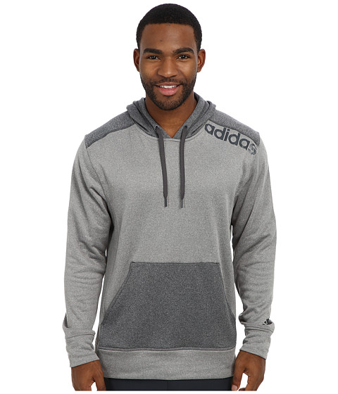 adidas - Ultimate Fleece Pullover Hoodie w/Linear Logo (Solid Grey Heather/DGH Solid Grey) Men's Fleece