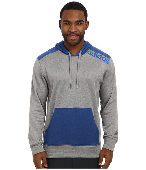 adidas - Ultimate Fleece Pullover Hoodie w/Linear Logo (Solid Grey Heather/Blue Beauty) Men