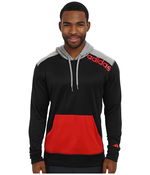 adidas - Ultimate Fleece Pullover Hoodie w/Linear Logo (Black/Scarlet) Men's Fleece