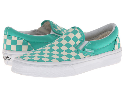 vans slip on green checkerboard