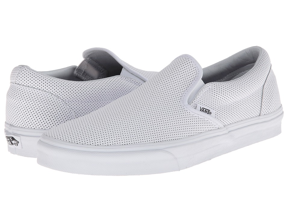Vans - Classic Slip-On ((Perf Leather) White) Skate Shoes