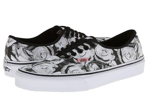 Vans Authentic ((Digi Roses) Black/True White) Skate Shoes