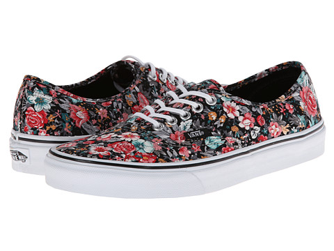 Vans - Authentic ((Multi Floral) Black/True White) Skate Shoes