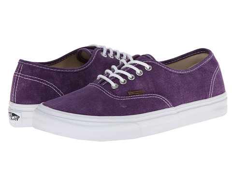 Vans - Authentic Slim ((Washed) Grape Royale/True White) Skate Shoes