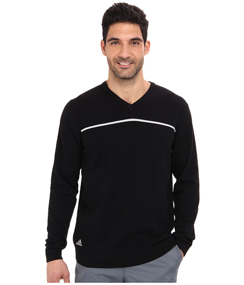 adidas Golf - Core V-Neck Sweater (Black/Clear Onix) Men