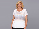 DKNY Jeans Plus Size Nothing But Blue Skies East West Graphic Tee (White)