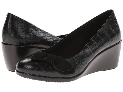 VIONIC with Orthaheel Technology - Lena Mid Wedge Pump (Black Crocodile) Women's Shoes