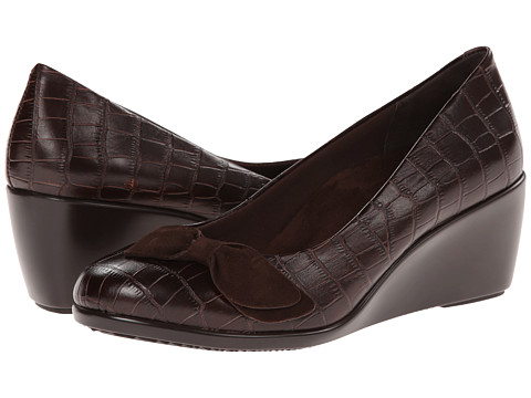 VIONIC with Orthaheel Technology - Lena Mid Wedge Pump (Brown Crocodile) Women