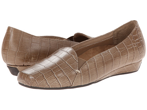 VIONIC with Orthaheel Technology - Dolores Low Wedge Pump (Taupe Crocodile) Women's Shoes