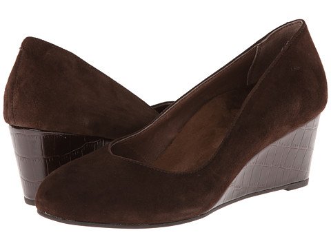 VIONIC with Orthaheel Technology - Antonia Mid Wedge Pump (Dark Brown) Women's Shoes