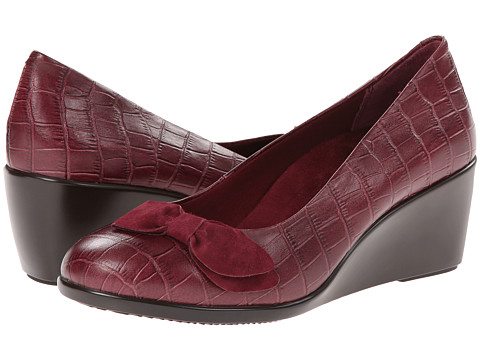 VIONIC with Orthaheel Technology - Lena Mid Wedge Pump (Merlot Crocodile) Women