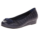 VIONIC with Orthaheel Technology Lydia Low Wedge Pump (Navy Crocodile)
