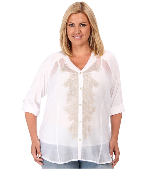 NIC+ZOE - Plus Size Fresh Blossom Top (Paper White) Women's Blouse