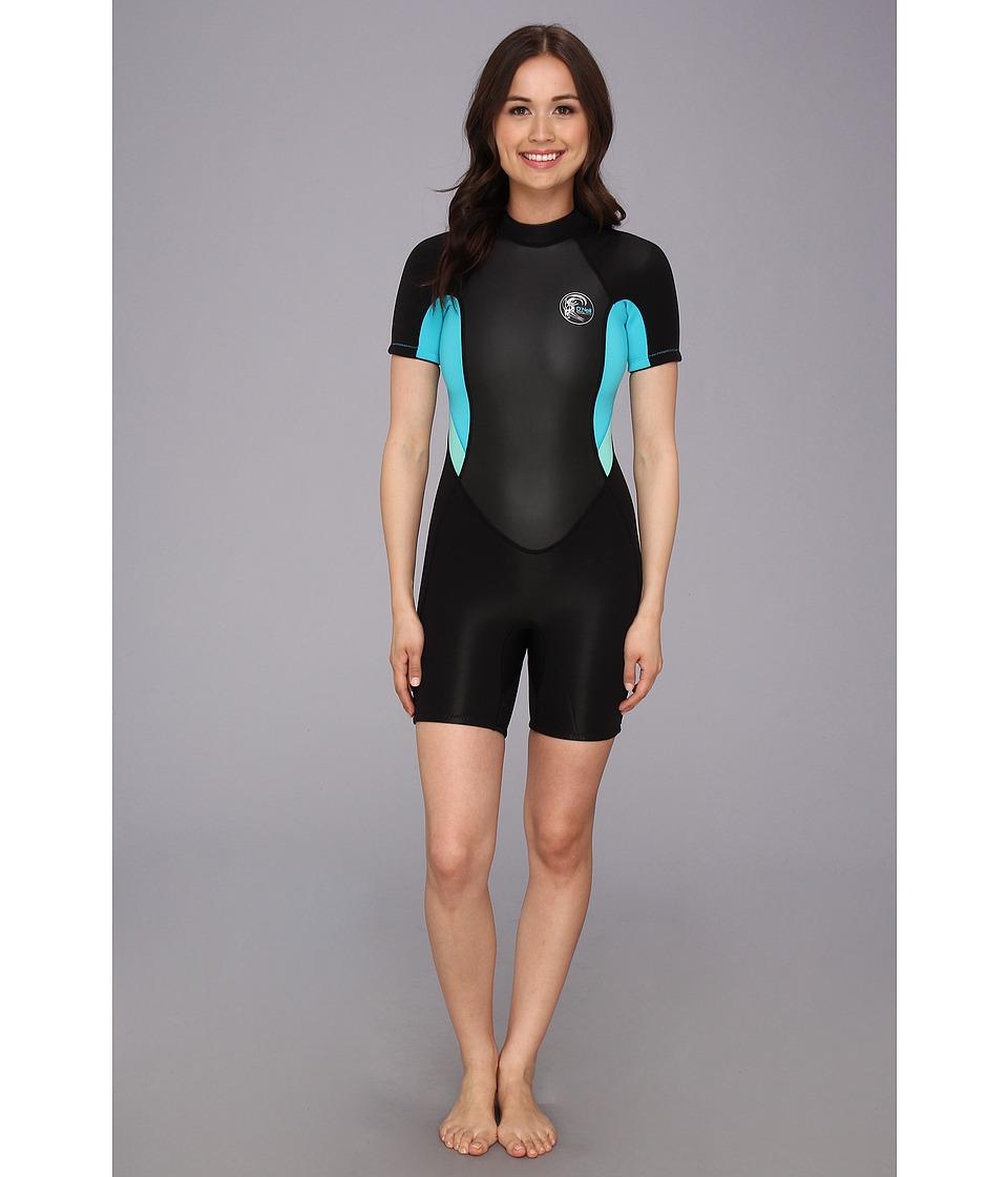 O'Neill - Bahia S/S Spring (Black/Ltaqua/Spyglass) Women's Swimwear