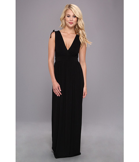 Christin Michaels - Sara Tie Shoulder Maxi Dress (Black) Women