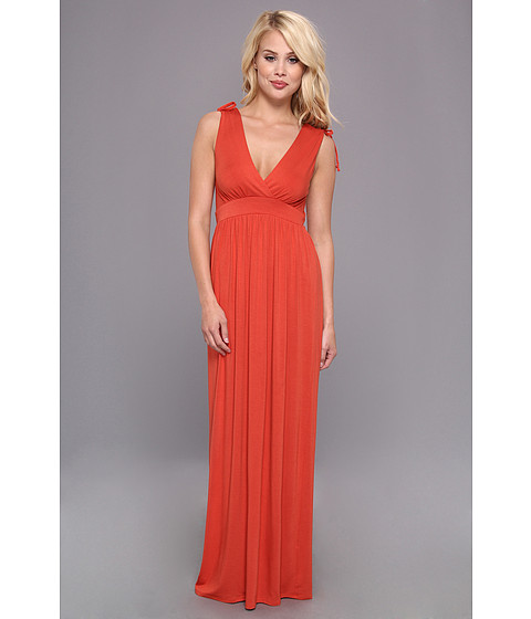 Christin Michaels - Sara Tie Shoulder Maxi Dress (Dark Orange/Dark Orange/Graphite) Women