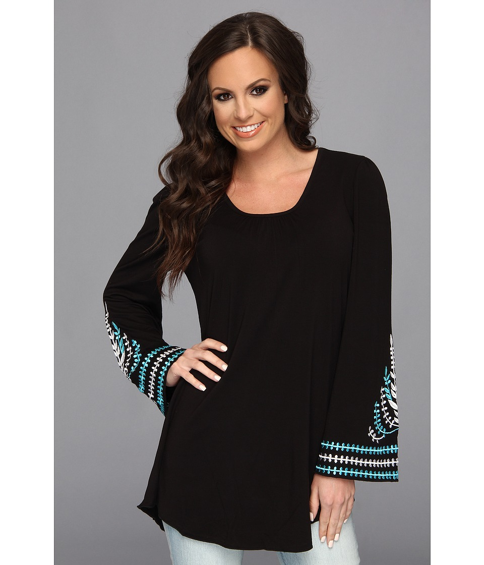 Scully - Jacalyn Scoop Neck Tunic Bell Sleeve w/ Embroidery (Black) Women's Long Sleeve Pullover