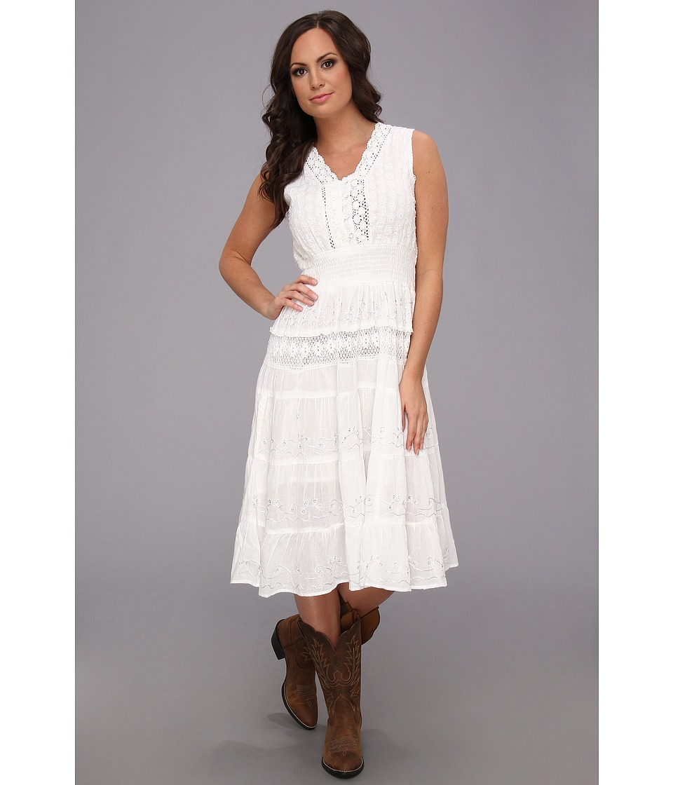 Scully - Honey Creek Clarisse Sleeveless Pearl and Rhinestone Dress (White) Women's Dress