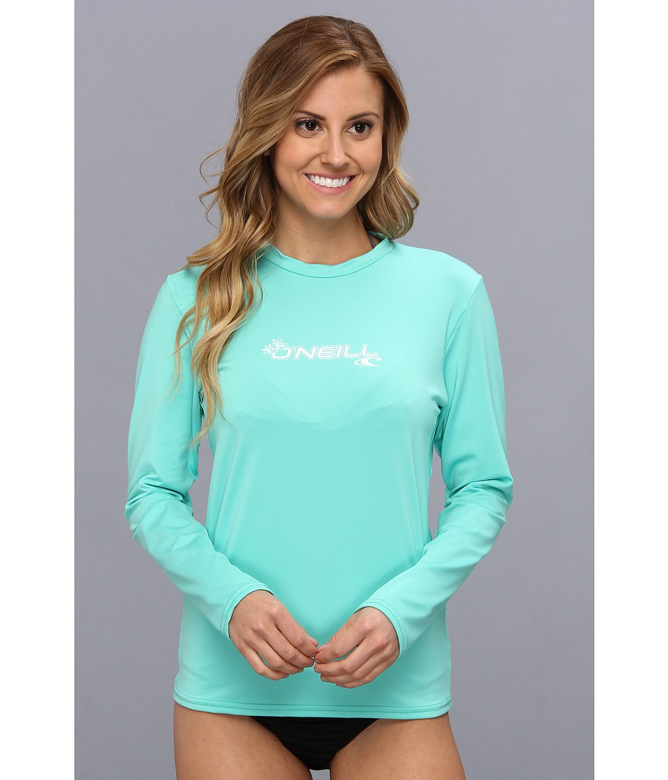O'Neill - Basic Skins L/S Rash Tee (Light Aqua) Women's Swimwear
