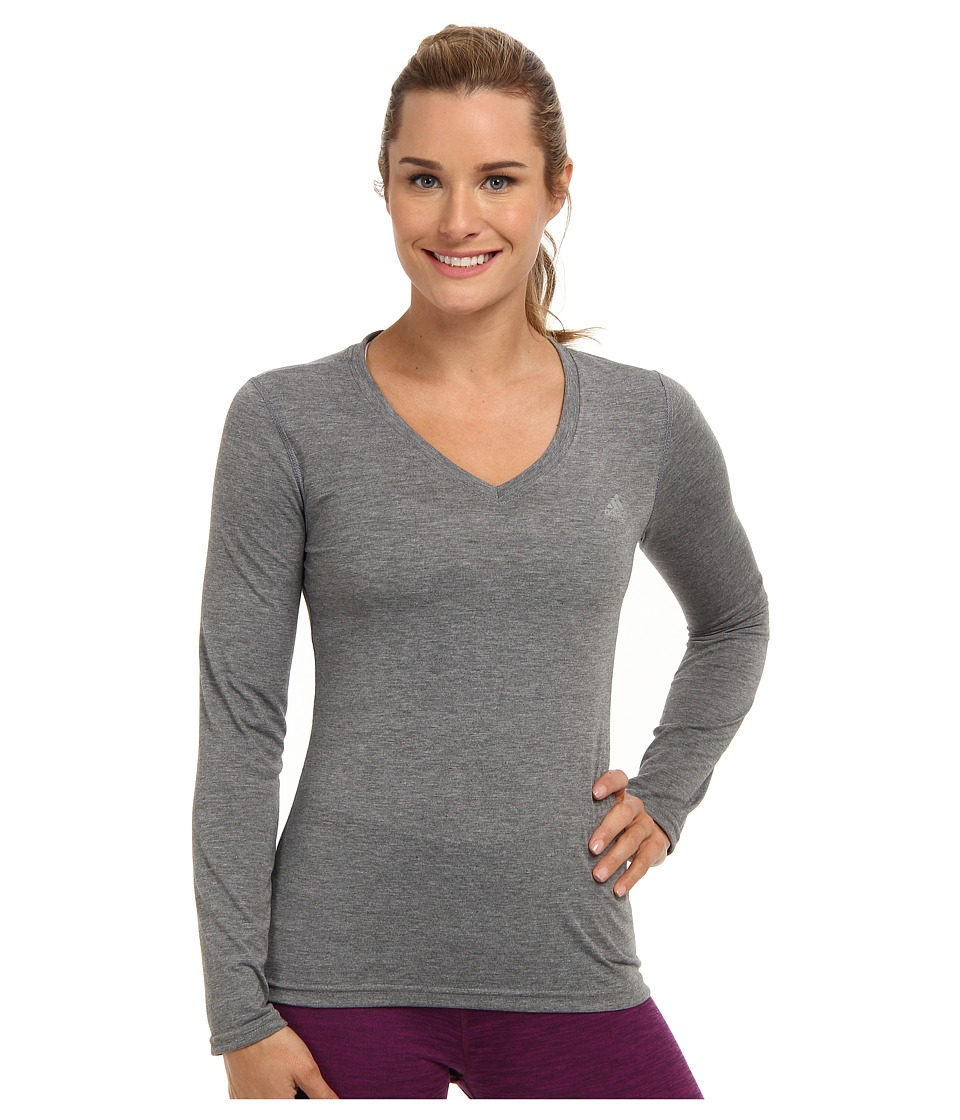 adidas - Ultimate L/S V-Neck Tee (Dark Grey Heather/Matte Silver) Women's T Shirt