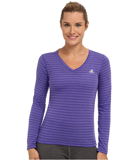 adidas - Ultimate L/S V-Neck Tee (Power Purple/Matte Silver) Women's T Shirt