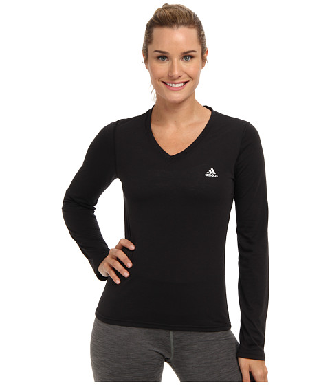adidas - Ultimate L/S V-Neck Tee (Black/Matte Silver 2) Women
