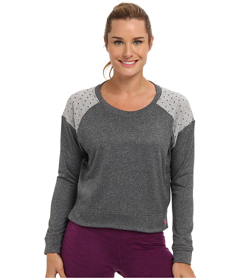adidas - Boyfriend Modern Crew Top (Dark Grey Heather/Medium Grey Heather/Solar Pink) Women's Long Sleeve Pullover