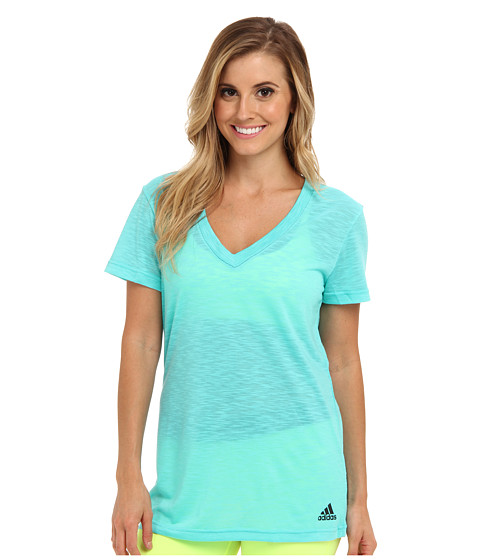 adidas - Boyfriend Double V-Neck Tee (Vivid Mint/Black) Women's T Shirt