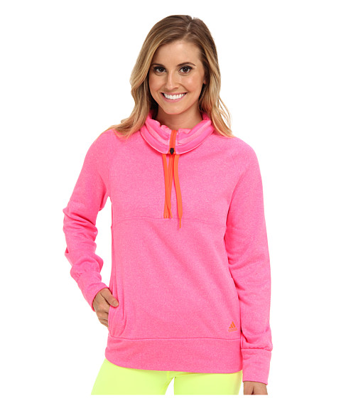 adidas - Ultimate Half-Zip Fleece (Solar Pink Heahter/Solar Red) Women