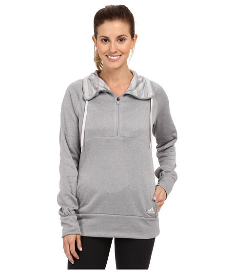 adidas - Ultimate Half-Zip Fleece (Light Onix Heather/Pearl Grey) Women