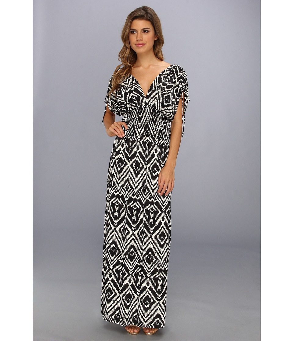 Tbags Los Angeles - Empire Smocked Waist Maxi Dress (CO2 Print) Women