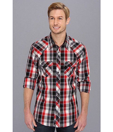 Rock and Roll Cowboy - Red Plaid L/S Snap (Black/Red) Men