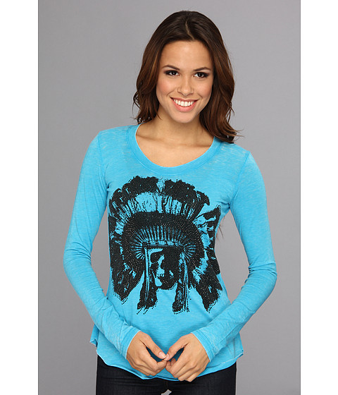 Rock and Roll Cowgirl - Juniors L/S T-Shirt (Bright Turquoise) Women's T Shirt