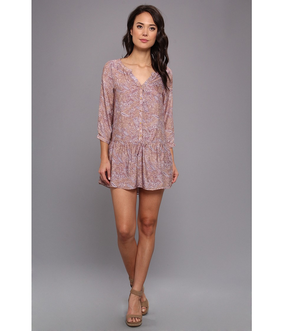 Tbags Los Angeles Paisley 3/4 Sleeve Drop Waist Dress (Mauve) Women