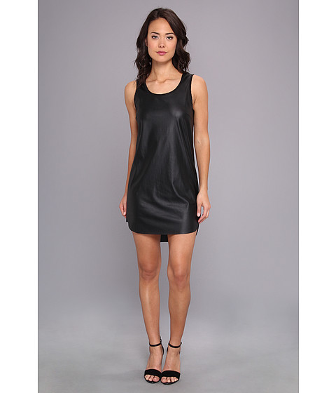 StyleStalker - Perforated PU Dress (Black) Women's Dress