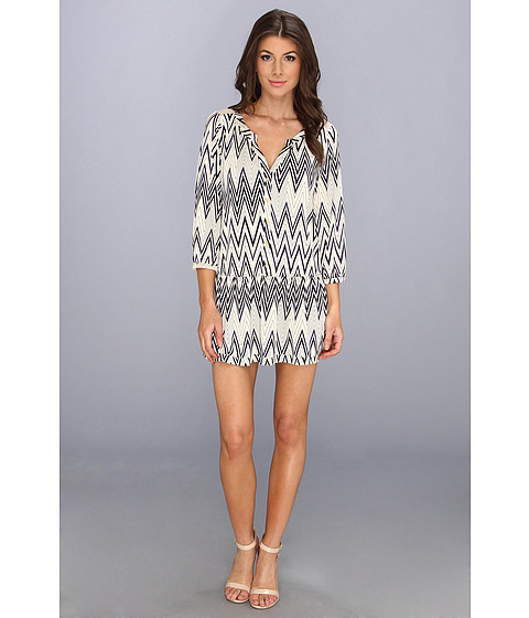 Tbags Los Angeles - Drop Waist Dress w/ Mesh Yolk Contrast (CO5 Print) Women