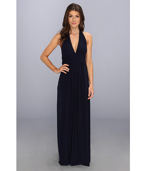 Tbags Los Angeles - Empire Waist Halter Maxi Dress (Navy) Women's Dress