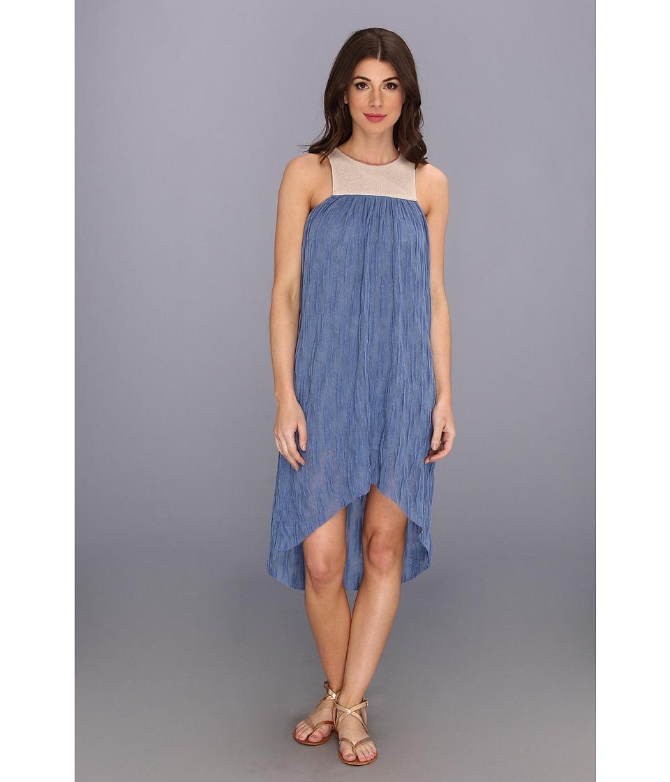 Tbags Los Angeles - Knit Sleeveless Hi-Low Dress w/ Mesh Contrast (Denim) Women