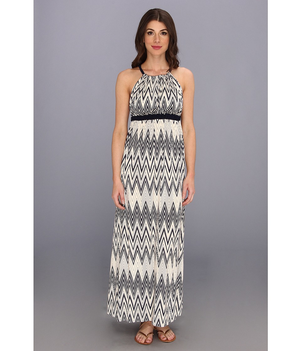 Tbags Los Angeles - Halter Maxi Dress w/ Contrast Straps X-Back Detail (CO5 Print) Women's Dress