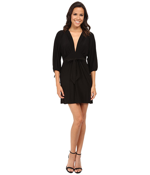 Tbags Los Angeles - 3/4 Sleeve Empire Dress w/ Tie Waist (Black) Women's Dress