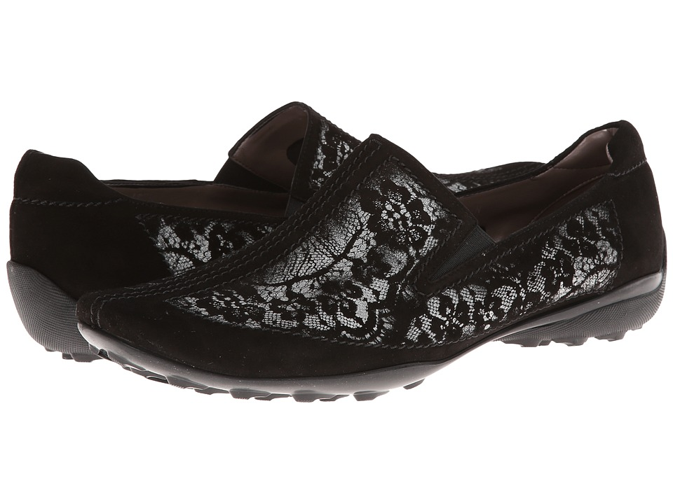 Sesto Meucci - Uriana (Black Suede/Lace Print) Women's Slip on Shoes