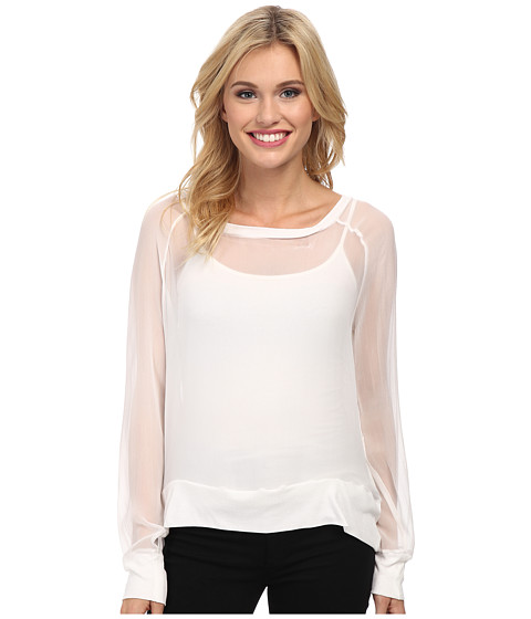 Chaser - Chiffon L/S Raglan (White) Women's Long Sleeve Pullover