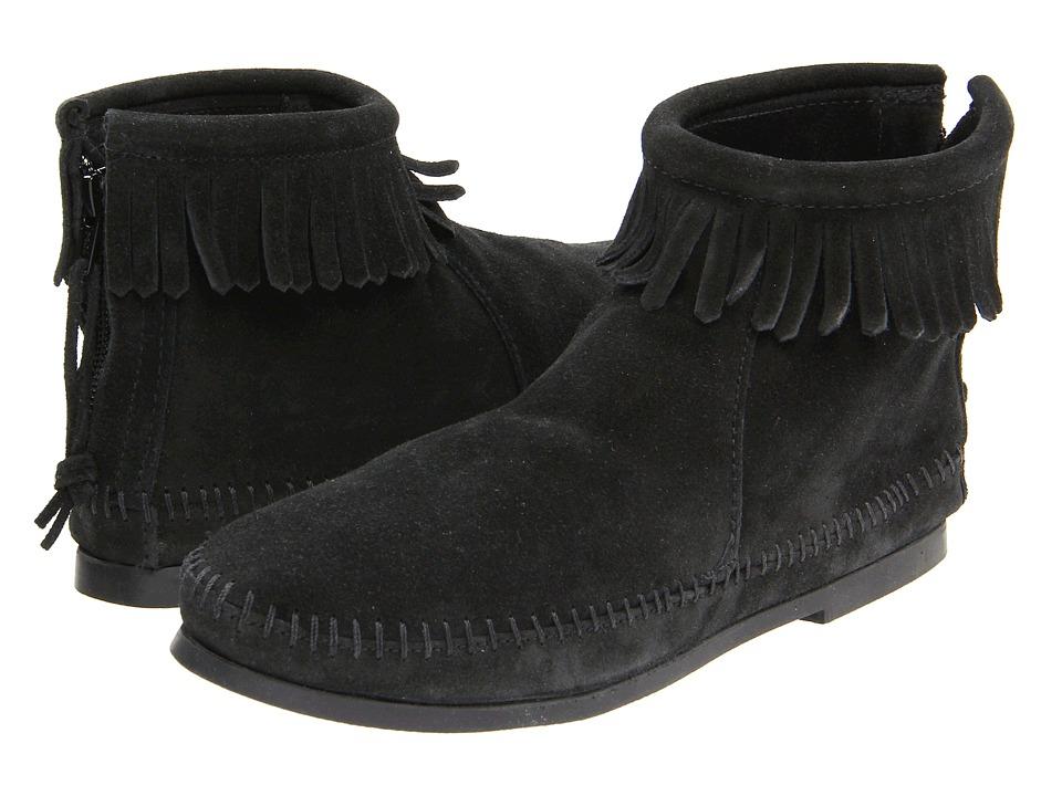 Minnetonka - Back Zipper Boot (Black Suede) Women's Zip Boots