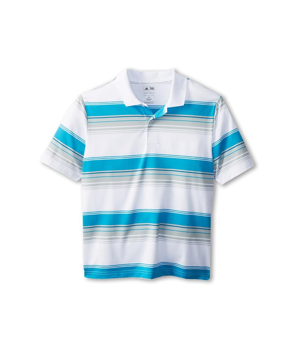 adidas Golf Kids - Performance Merch Stripe Polo (Little Kids/Big Kids) (White) Boy's Short Sleeve Pullover