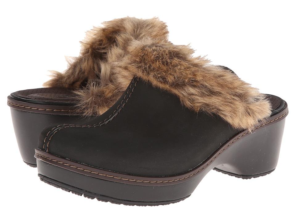 Crocs Cobbler Fuzz Clog (Mahogany/Black) Women