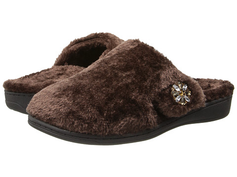 VIONIC with Orthaheel Technology - Gemma Luxe Slipper (Dark Brown) Women