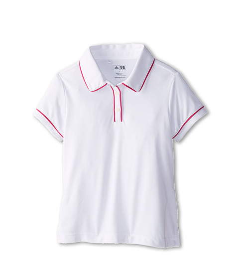adidas Golf Kids - Performance Solid Piped Polo (Big Kids) (White) Girl