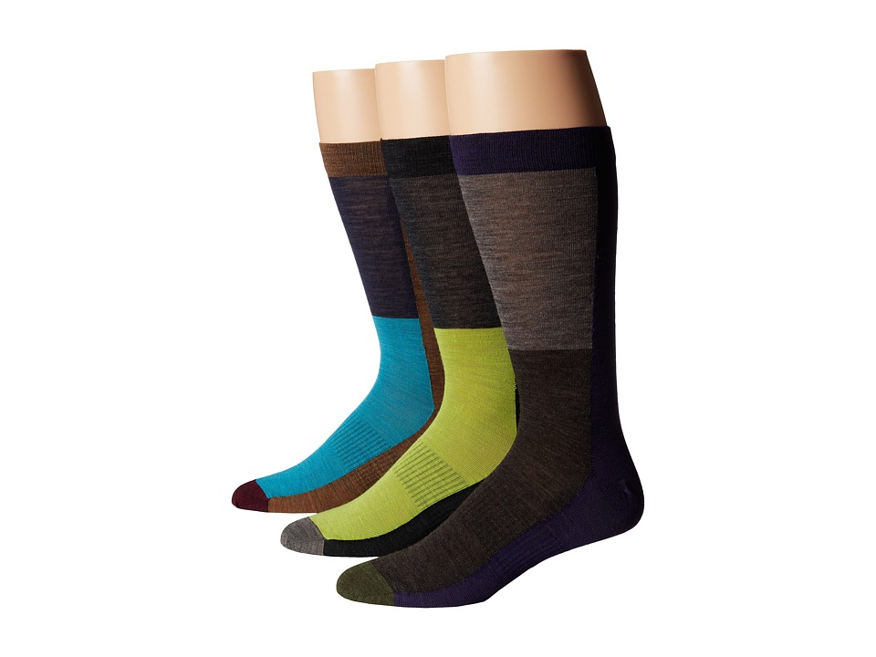 Smartwool - Color Block 3-Pack (Black/Carmel/Imperial Purple) Men's Crew Cut Socks Shoes