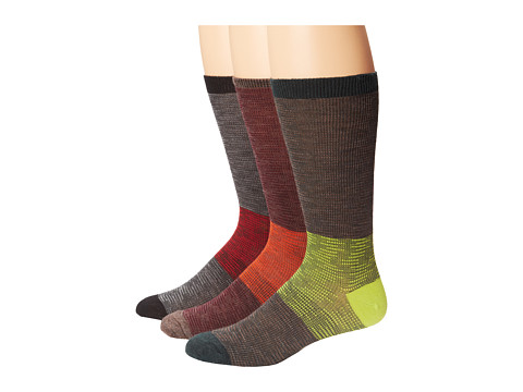 Smartwool - Feathered Incline 3-Pack (Black/Bottle Green Heather/Taupe) Men's Crew Cut Socks Shoes