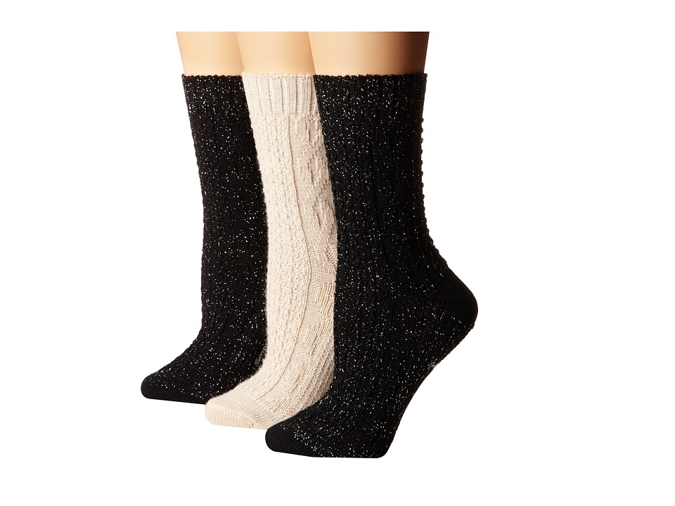 Smartwool - Wrapped Metallic Cable 3-Pack (Natural Heather/Black) Women's Crew Cut Socks Shoes